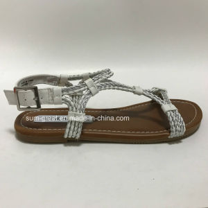 White Women Sandals with PU Upper Lady Casual Shoes with Good Quality