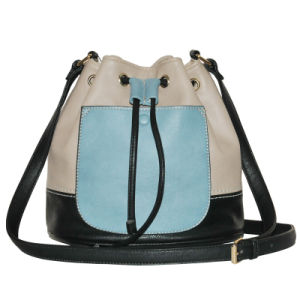 PU Contrast Color Shoulder Draw String Designer Leather Bag