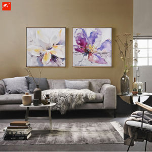 Watercolor Flowers Decorative Oil Painting with Frame