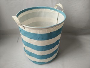 Canvas Round Laundry Hamper with PE Coating - Blue Stripes