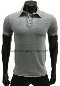 Polo T-Shirt for Men with Burn-out and Raw Hem pictures & photos