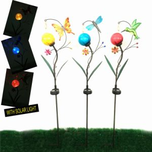 3 Asst Solar Lighted Garden Decoration Metal Stake