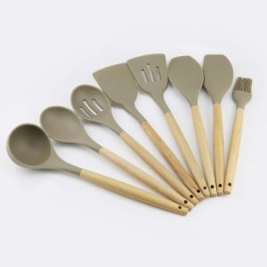 Hot 8PCS Silicone Kitchen Ware Cooking Tool Wood Utensil Set Accessories  Wholesale Kitchenware Supplies