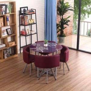 China Wholesale Dining Room Furniture Steel Legs Dining Table Set With Glass Top Simple Style Dining Table Sets Factory Price Modern Design Table Chair Sets China Dining Room Table Dining Room