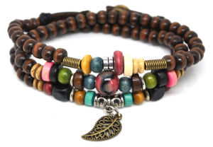 Fashionable Handmade Wooden Beads Jewellery Bracelets With Alloy Stylish Charms Many Styles Available
