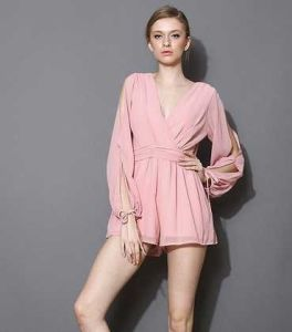 OEM 100% Chiffon Ladies Romper Sexy Long Sleeve Women Jumpsuite pictures & photos