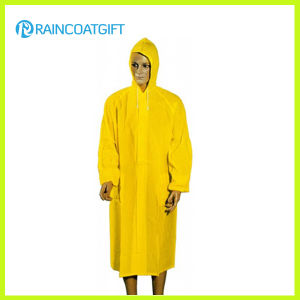 100%PVC Long Yellow Men′s Raincoat (Rvc-133) pictures & photos