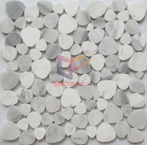 Pebble Stone White Marble Mosaic Tile