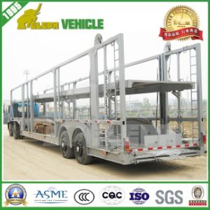 Two Single Wheel Axles Electric Pump Installed Car Transporter Trailer