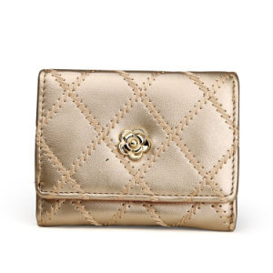 Gold Metallic Flower Lock Trifold Fashion Women Wallet