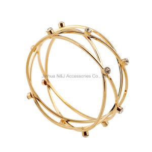Fashion Stereo Round Bangles Zircon Setting Bangles for Women Elegant Party Jewelry