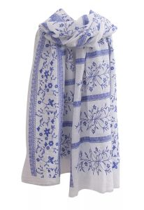 BSCI Factory Fashion Flourish Printing Cotton Women′s Scarf with Lace Effect (HWBPS022) pictures & photos