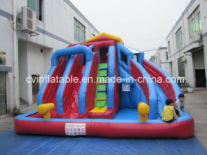 Inflatable 3 Lanes Water Slide with Pool