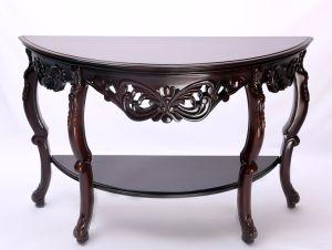 Console Table 55 Half Moon Dark Cherry Handmade Carving