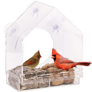Acrylic Window Bird Feeder House with Sliding Feed Tray pictures & photos