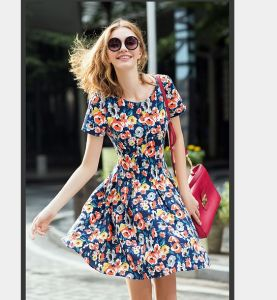 OEM Women Clothing 2015 Plus Size Floral Print Women Dress pictures & photos