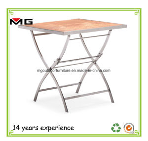 China Outdoor Folding Dining Table With Teak Top China Teak