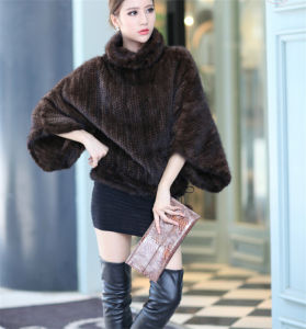 Women′s Genuine Real Batwing Sleeve Knitted Mink Fur Jacket