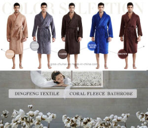 2015 New Fashion Men′s Solid Color Coral Fleece Bathrobe pictures & photos