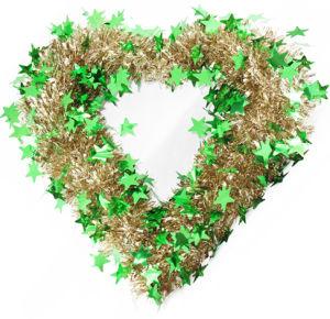 Christmas Heart Wreath.Christmas Heart Shape Tinsel Wreath With Green Star