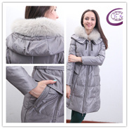 Grey Windproof Girl Leather Down Jackets Y3612