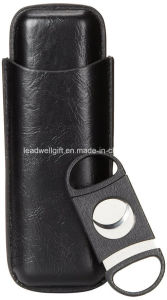 Leather 3 Cigar Case Holder with Cigar Cutter (Black) pictures & photos