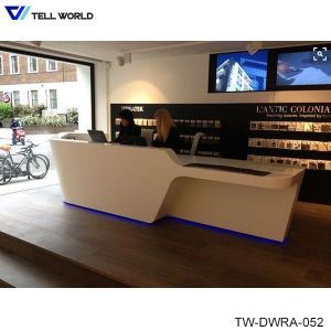 SPA Reception Desk in White Vinyl or Leather High Gloss Reception Desk Hair Salon Reception Cashier Desks pictures & photos
