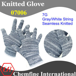 7g Gray/White Polyester/Cotton Knitted Glove with White Over Lock pictures & photos