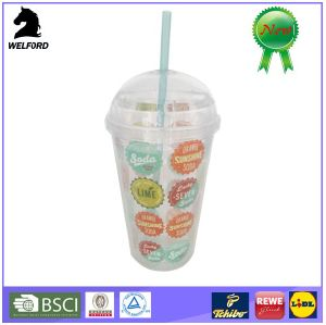Plastic Double Wall Doomed-Cap Tumbler with Straw