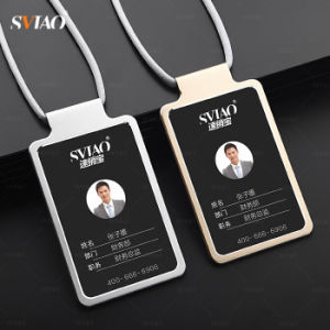aluminum material gold employee work id card holdername tag holder - Id Card Holder