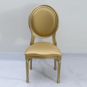 New Product French Style Antique Leather Dining Louis Round Back Chair