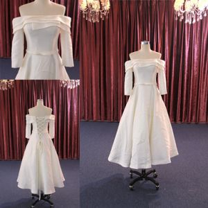 China Off Shoulder Gown Dress Long Sleeve Short Satin Wedding Dress China Wedding Gown And Dress Price