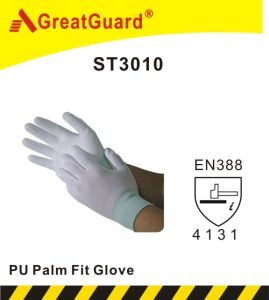 Lite Flex White PU Palm Glove (ST3010, CE Certificated) pictures & photos