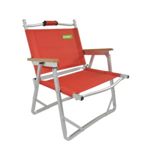 Easy Lightweight Fishing Outdoor Camping 600d Polyester Folding Portable  Chair (with Wood Armrest)