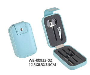 Promotional Gift Light Blue Leather Manicure Set with Stainless Tools Inside