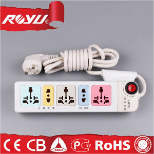 Flat Electrical Power 4 Way Extension Cord Socket with Switch pictures & photos