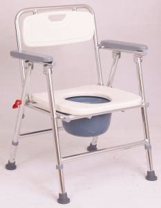Foldable Shining Silver Alumunum Commode Chair with HDPE Board pictures & photos
