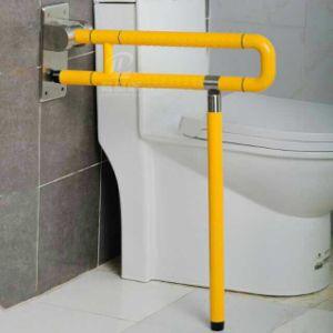 Toilet And Bathroom Wall To Floor Mounted U Shaped Fold Up Grab Bars