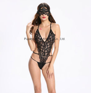 Ladies Sexy Erotic Fishnet & Lace Three-Point Teddy 8010