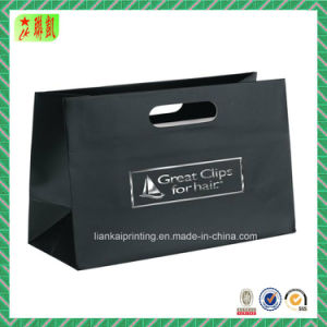 Black Matte Laminated Paper Bag with Die Cut Handle pictures & photos