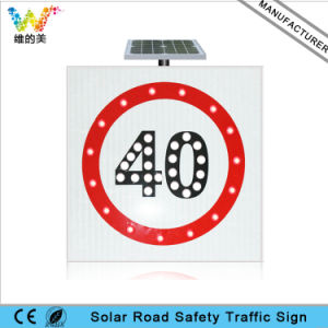 LED Flashing Speed Limit Sign Solar Warning Traffic Road Sign pictures & photos