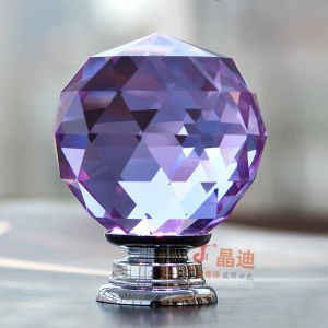 Purple Crystal Glass Pull Handle for Luxury Home Decoration pictures & photos