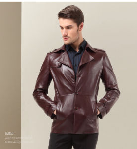 OEM Plus Size Latest Fasion Winter Office Men′s Leather Jackets pictures & photos