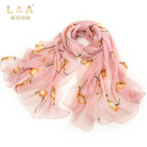 Pink Silk Scarves The Bird Printing