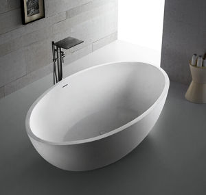 White Solid Surface Resin Stone Bathtub