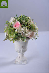 Artificial Rose with Boxwood Ball Topiary in Urn