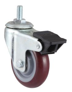 Indurial Wheel Swivel PU Caster with Dual Brake pictures & photos