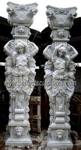 Carved Roman Column with Stone Marble Sandstone Granite (QCM109) pictures & photos