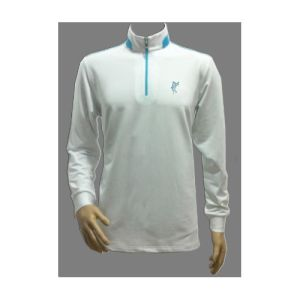 White Dry-Fit Long Sleeve Polo Neck Shirt with Zip pictures & photos