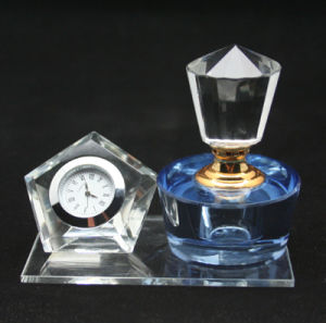Crystal Perfume Bottle for Office Decoartion with Clock (JD-XSP-208) pictures & photos